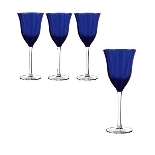 Qualia Glass Meridian Wine Glass, Clear/Blue, 4 Piece
