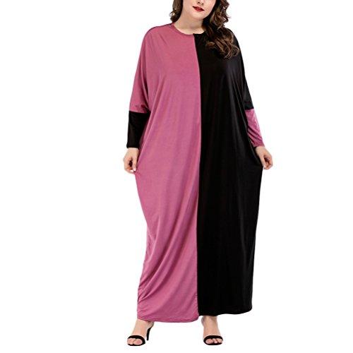 抽象ねじれアシスタントZhhlaixing ナイトガウン 女性 ロングスリーブ スプライシング ルーズ ミディドレス カフタン ガウン 大きいサイズ 衣類 中東 アラブのローブ