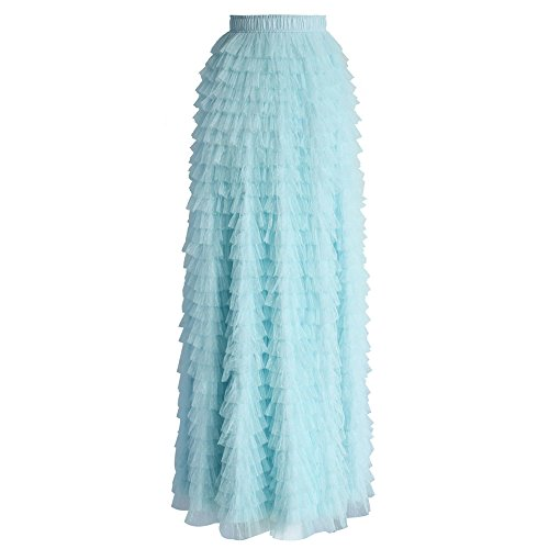 Chicwish Women's Mint Dots Tiered Layered Mesh Ballet Prom Party Tulle Tutu A-line Maxi Skirt