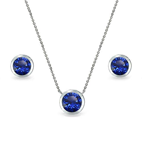 Sterling Silver Created Blue Sapphire 7mm Round Bezel-Set Solitaire Dainty Necklace and Stud Earrings Set for Women