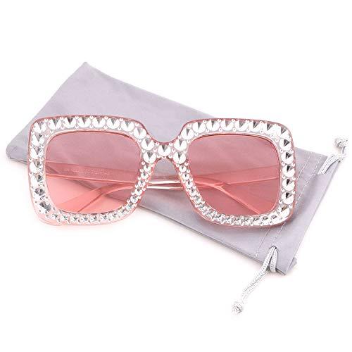 e44fa5e994 Creamily Women Oversized Sunglasses Sparkling Square Glasses Thick Frame  Eyewear
