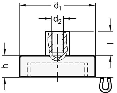 Ganter Normelemente 5 St/ück Magnetwerkstoff Neodym GN 50.2-ND-13-M3 Haltemagnete mit Innengewinde