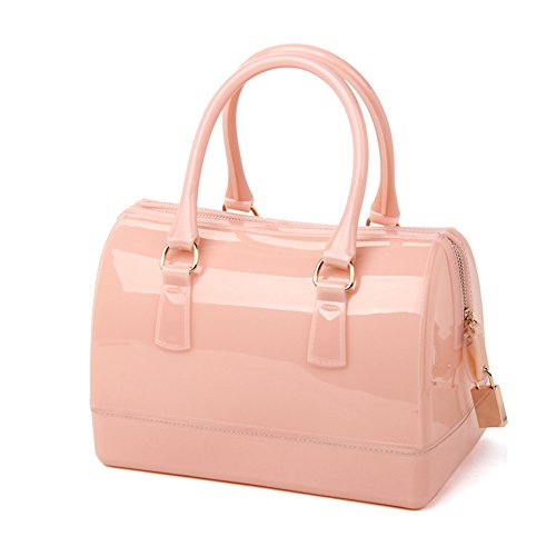Top Shop Womens Silicon Handbags Pink Saddle Bags with Lock (Pink Ladies Bowling Bag)