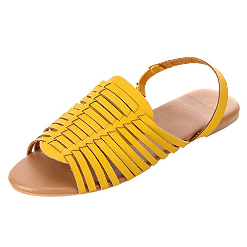 Ankle Strap Flat Sandals,SMALLE◕‿◕ Women's Elastic D'Orsay Flat Sandals Open Toe Ankle Strap Summer Beach Mules Shoes Yellow