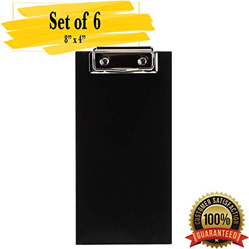 MM Foodservice 8x4 Check Presenter with Clip, Clipboard Menu Holder, Clipboard Check Presenter (Black Wood) Black Wood Paper Clip Holder