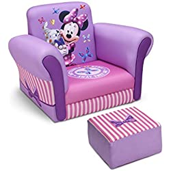 Delta Children Upholstered Chair with Ottoman, Disney Minnie Mouse