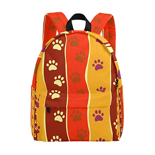 MALPLENA Daypack for Men Bright Cats Or Dogs Paw Print and Stripes Depositp Travel Bag School Bag