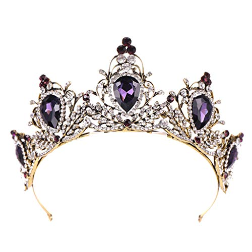 Chinaware Jeweled Queen Crown - Rhinestone Wedding Crowns and Tiaras for Women, Costume Party Hair Accessories with Gemstones