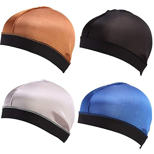 Boo Boo Silky Stocking Wave Cap, Wire Elatic Band Mesh Dome Wig Caps Durag,Group 5(4pcs)