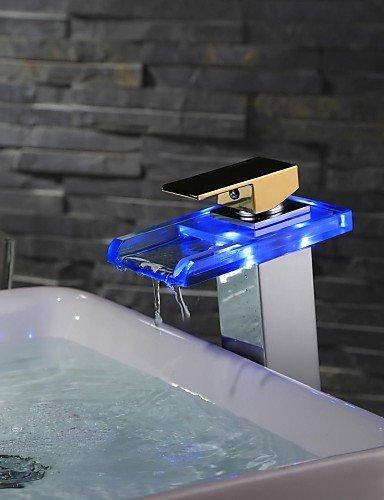 Moderne FarbwechsÖl LED-Chrome-Finish Gold Griff WasserfaÖl Waschbecken Wasserhahn