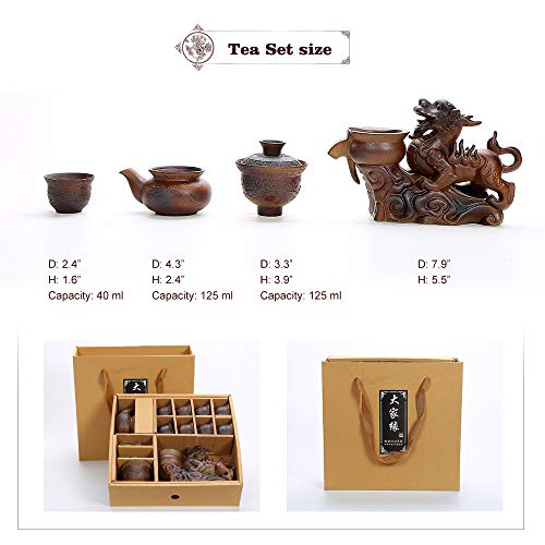Chinese Hot Tea Service Set Handmade Automatic Kylin Design Firewood Crude Pottery Kongfu Teapot W/ 8 Teacup Clay Gift Set for Adults Parents Tea Lovers Business Friend Wedding Christmas Decor by Ufine (Image #2)