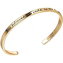 """SOLOCUTE Cuff Bangle Bracelet Engraved """"She believed she could so she did"""" Inspirational Jewelry, Perfect Gift for Christmas Day, Thanksgiving Day and Birthday"""