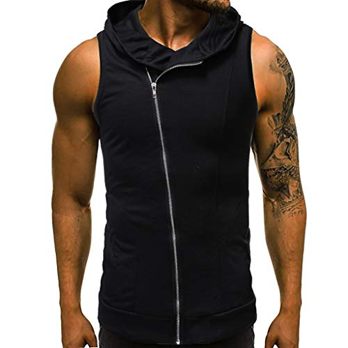 MmNote mens clothes clearance sale, Men Diagonal Zipper Vest Jacket Patchwork Sleeveless Contrast Hoodie Short Sleeve T-Shirt Black