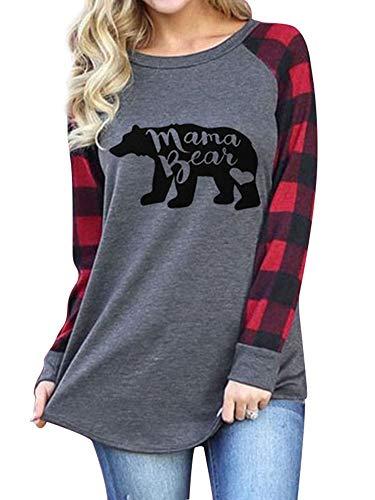 Dresswel Womens Casual Plaid Long Sleeve Mama Bear Letter Print T-Shirts Tops - T-shirt Bear Sleeve Long