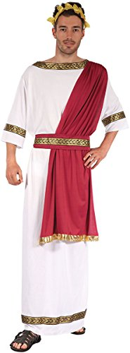 Adults Fancy Dress Party Toga Cease Greek God Men's Complete Costume White ()