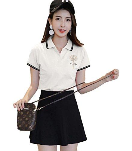 YiTongレディース ポロシャツ 春 半袖 Vネック Tシャツ 折り襟 ゴルフウェア シンプル 無地 トップス 人気 韓国風 ファッション カジュアル