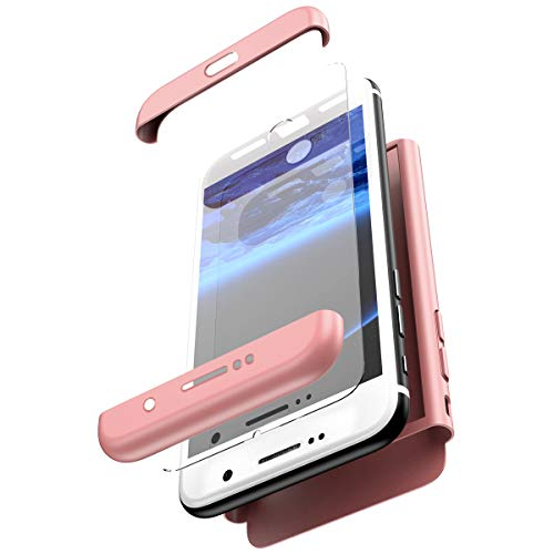 - PHEZEN Compatible Galaxy S7 Edge Case,360 Full Body Protective Rugged Case with Tempered Glass Screen Protector Shockproof Anti-Scratch Hard PC Bumper Back Case for Samsung Galaxy S7 Edge,Rose Gold
