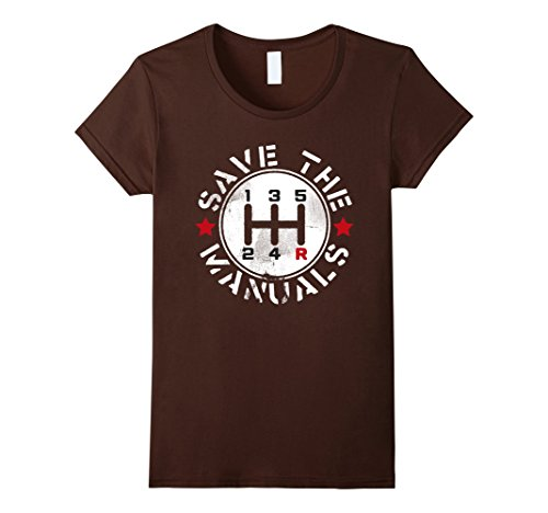 Womens Three Pedals Manual Transmission T Shirt Large Brown