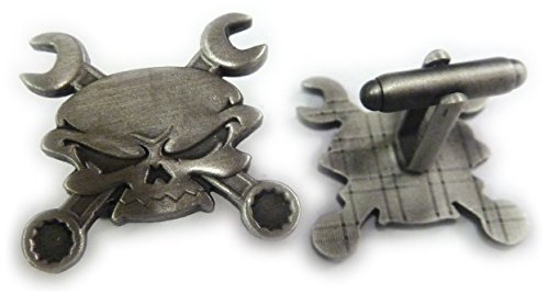 Skull Cross Wrenches Antique Nickel Car Motorcycle Mechanic Cufflink Set