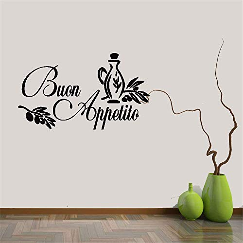 Tiude Decals Stickers Wall Words Sayings Removable Lettering Wall Decal Quote BUON Appetito for Kitchen Dining Room ()