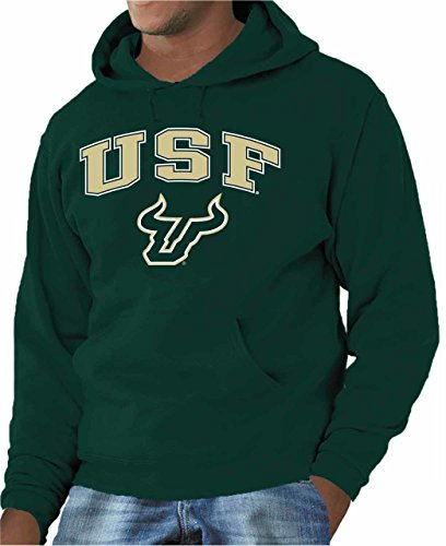 Campus Colors USF Bulls Adult Arch & Logo Gameday Hooded Sweatshirt - Green, X-Large - Mens Pouch Bull