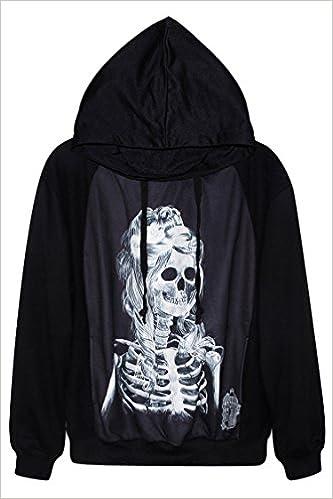 Womens Pink Skeleton Print Black Hoodie Sweatshirt