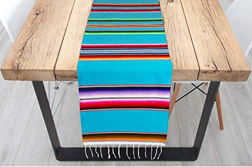Genuine Mexican Premium Handwoven Bright MexicanTable Runner Saltillo Serape Colorful Striped Sarape 60'' x 12'' (Turquoise) by Threads West