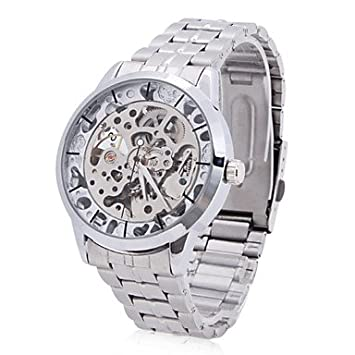 XKC-watches Relojes para Hombres, Hombre Reloj Esqueleto Cuerda Automática Huecograbado Acero Inoxidable Banda