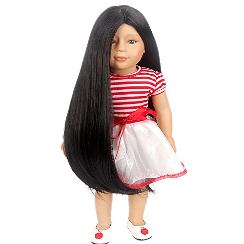 STfantasy American Girl Doll Wigs Black Long Straight Hairpiece for 11