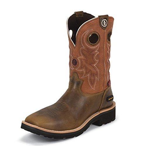 Tony Lama Mens Midland Rost 11 Höjd (rr3300) Komposit Tå | Fot Tan Comanche | Pådrags Västra Stövlar | Browns Cowboy Läder Boot | Handgjorda I Usa