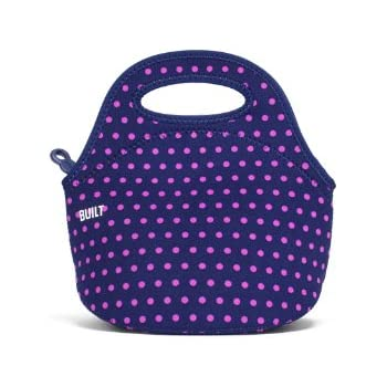 82955fabec182 BUILT LB10-MNV Gourmet Getaway Mini Soft Neoprene Lunch Tote  Bag-Lightweight, Insulated and Reusable, Snack, Dot Navy