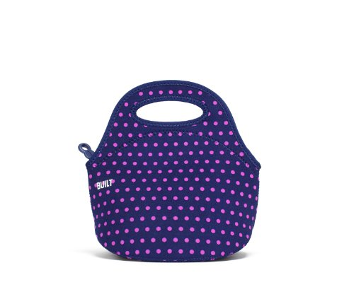 BUILT LB10-MNV Gourmet Getaway Soft Neoprene Lunch Tote Bag-Lightweight, Insulated and Reusable, Snack, Mini Dot Navy