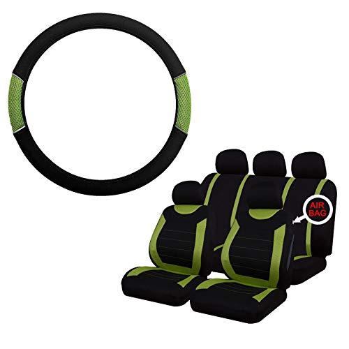 UKB4C Green & Black Steering Wheel & Seat Cover set for Saab 900 All Models:
