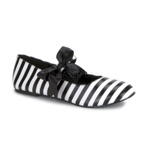 Flat Women's Striped Bow Black Detail With Junior's White w484xqUAS