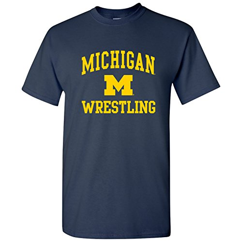 AS1104 - Michigan Wolverines Arch Logo Wrestling T-Shirt - Small - Navy - Navy Wrestling Arch