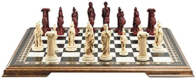 Roman Themed Chess Set - 4 Inches - In Presentation Box - Handmade in UK - Ivory and Burgundy