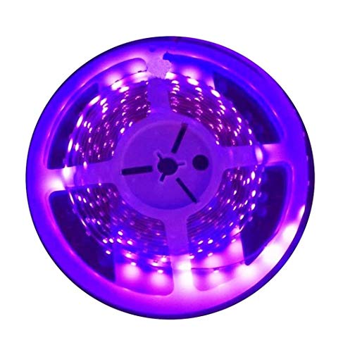 AMARS UV LED Black Lights Strip DC12V 24W 16.4FT 300leds Blacklight Fixture Purple Lighting for Fluorescent, UV Body Paint, Party, UV Poster, Room Decoration (Strip Only)