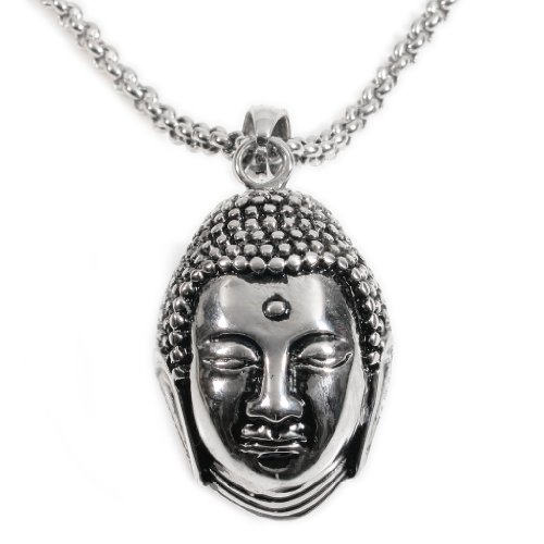 Stainless Steel Calm Meditating Buddha Head Pendant Necklace