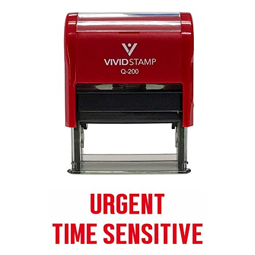 URGENT TIME SENSITIVE Self Inking Rubber Stamp (Red Ink) - Large -