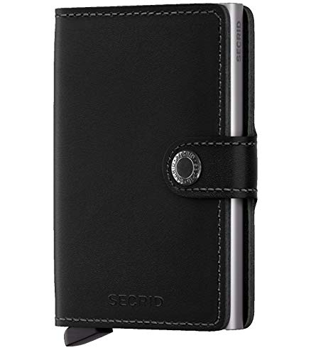 Secrid mini wallet genuine black leather with RFID protection / with one click all cards slide out gradually 	 (Japanese Business Card)