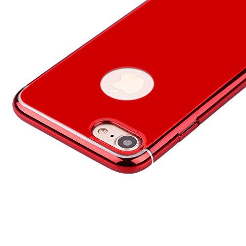Funda para iPhone 7, Ukayfe 360 grados Caja de TPU Gel Silicio Plástico transparente para iPhone 7,Suave Carcasa Caso Parachoques para iPhone 7,Funda Case Lujo Premium Bling Caja PC Dura Ultra Fina Cu Rojo