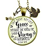 """24"""" She Gave Herself Grace Christian Necklace Bible Quote Soulful Life Journey Pendant Rustic Dove Jewelry For Women"""