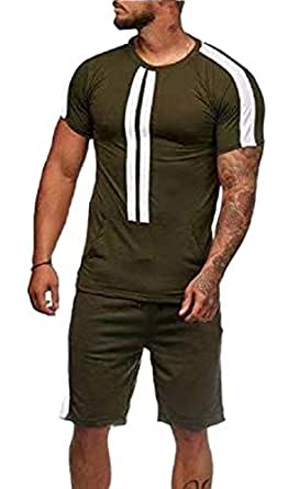 Men's Tracksuit 2 Piece Outfit Sport Set Short Sleeve Tops + Short Pants Army Green XS