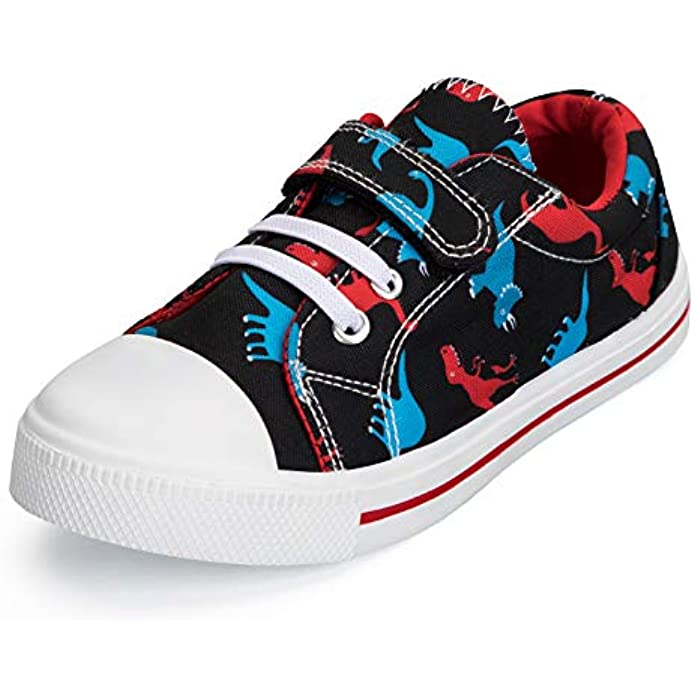K KomForme Toddler Boys Girls Shoes Kids Canvas Sneakers with Hook and Loops
