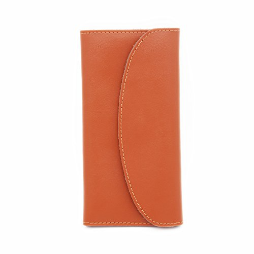 Genuine Leather Clutch Wallet for Women with Card Slots - Multiple Colors Available (Orange) - Tan Womens Wallet
