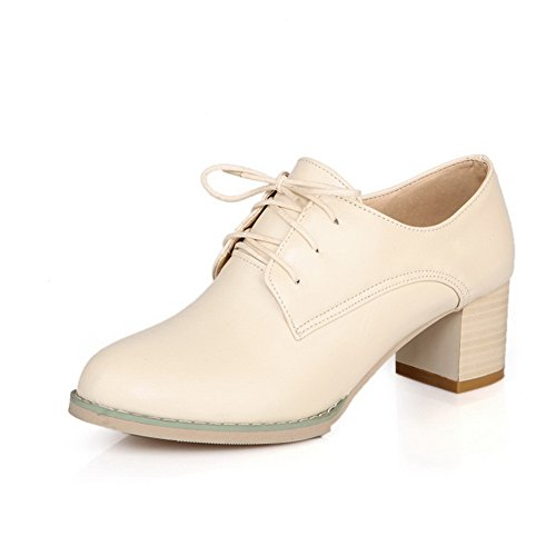 Kitten Heels Pumps White Soft PU Womens Solid Toe Material VogueZone009 Bandage Round with xItUwSqz