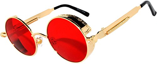 Steampunk Retro Gothic Vintage Hippie Colored Metal Round Circle Frame Sunglasses Colored Lens OWL (Steampunk_C10_Gold_Red_Sea, PC - Mens Vintage Glasses