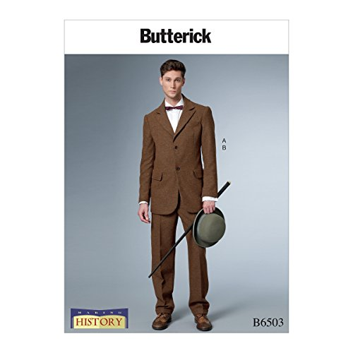 Butterick Patterns B6503 Q Men's Single-Breasted Lined Coat with Back Vent and Cuffed Pants Costume by Making History, Size MQQ (19th Century Patterns)