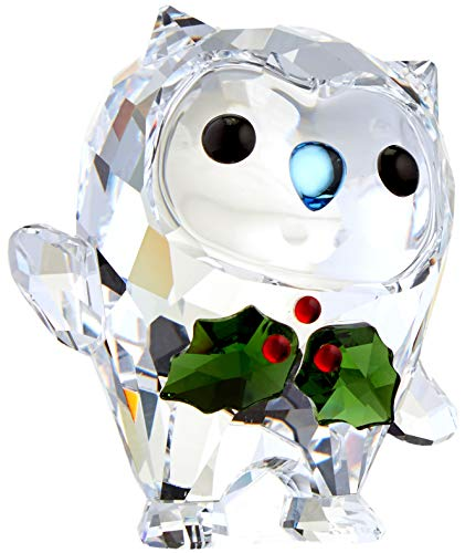 Swarovski 5393324 Hoot – Happy Holidays, A. E. 2018, Clear Crystal with Red Green