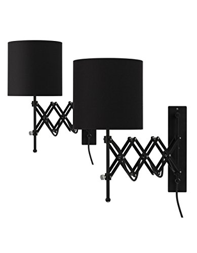 - Modernluci Wall Sconce LED Wall Light Modern Plug in Bedroom Lamp Black Set of 2